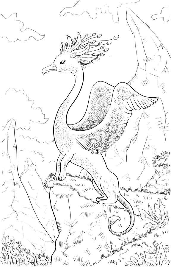 Fantastisch dier met hoofd van een vogel, lichaam van leeuw Het kleuren pag royalty-vrije illustratie