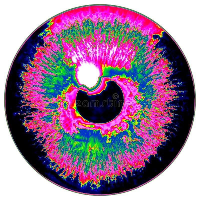 Fantastisch infrarood aftasten van blauwe oogiris, lichte bezinning royalty-vrije illustratie