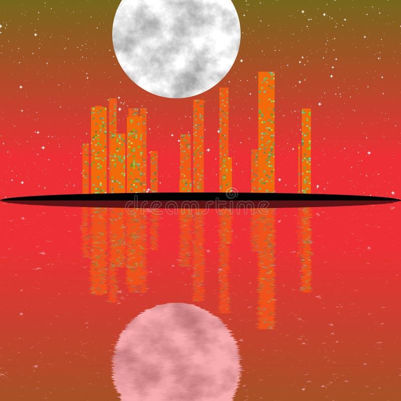 Fantastisch infrarood aftasten van nachtcityscape illustratie met gebouwen op eiland Grungeachtergrond in thermografiekleuren vector illustratie