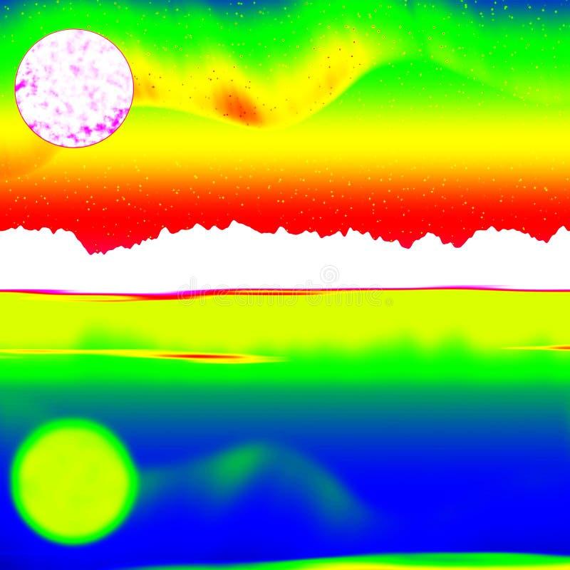 Fantastisch infrarood aftasten van rotsachtig landschap, pijnboombos met kleurrijke mist stock illustratie