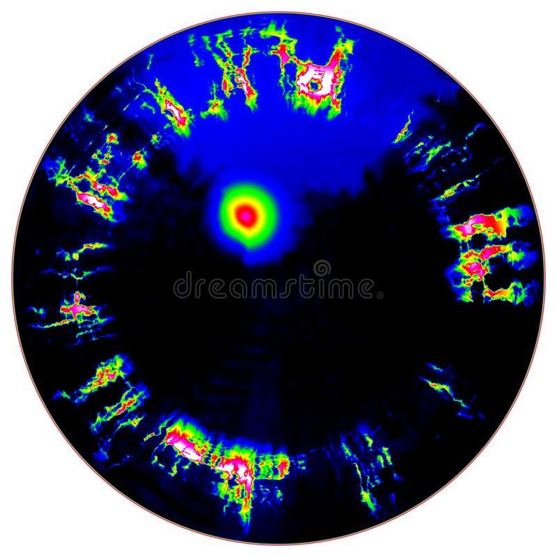 Fantastisch infrarood aftasten van zwarte oogiris, lichte bezinning vector illustratie
