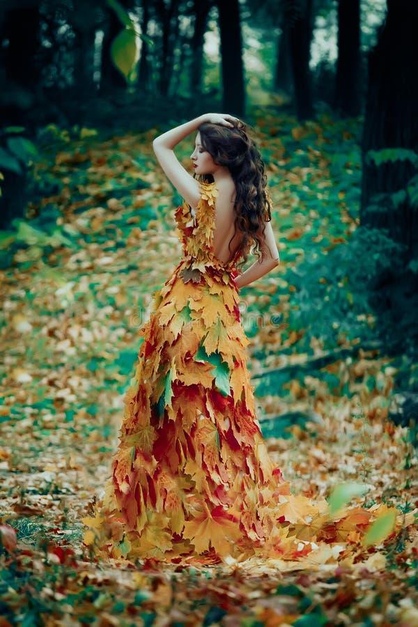 Fantastisch meisje in het de herfstbos royalty-vrije stock afbeelding