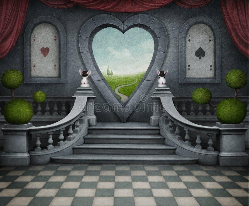 Fantastische achtergrond en deur van hart. vector illustratie