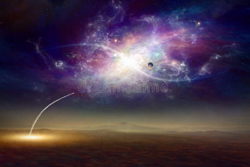 Fantastische achtergrond, ruimteveer het opstijgen vector illustratie