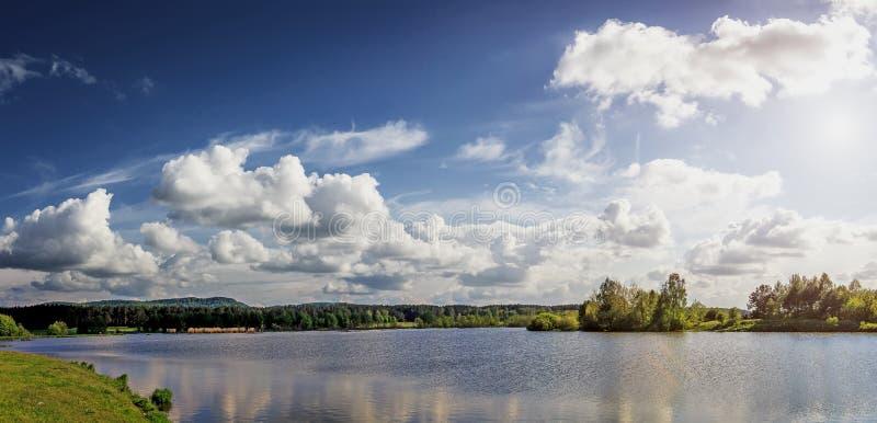Fantastische Ansicht Blendungssonne erleuchtet Bäume und Wolken im Himmel stockbild