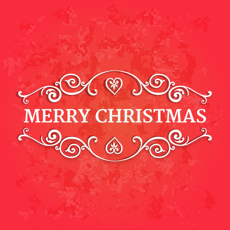 Fantastische aufwändige Grenzen mit frohen Weihnachten des Textes am roten strukturierten Hintergrund lizenzfreie abbildung