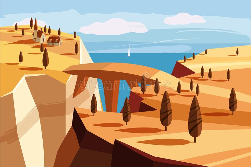 Fantastische Berglandschaft Brücke, Bergdorf, der Golf, Bäume, Ozean, Meer, Karikaturart, Vektorillustration vektor abbildung