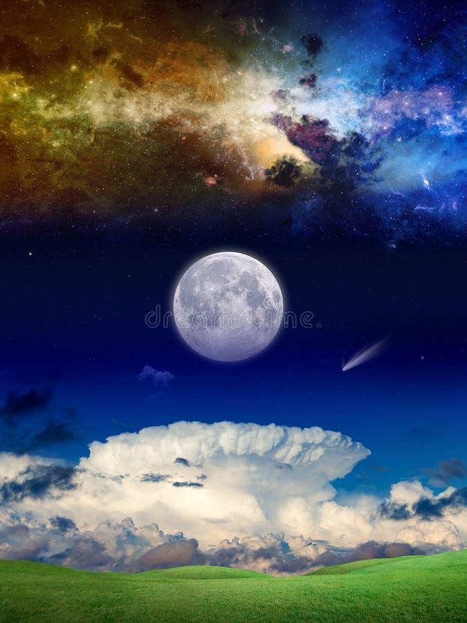 Fantastische bovennatuurlijke achtergrond met melkweg, komeet en volledige mo vector illustratie