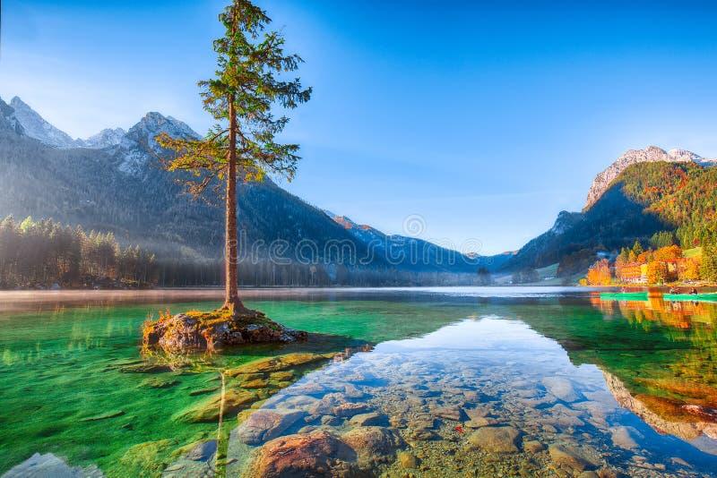 Fantastische de herfstzonsopgang van Hintersee-meer Mooie scène van t stock afbeelding
