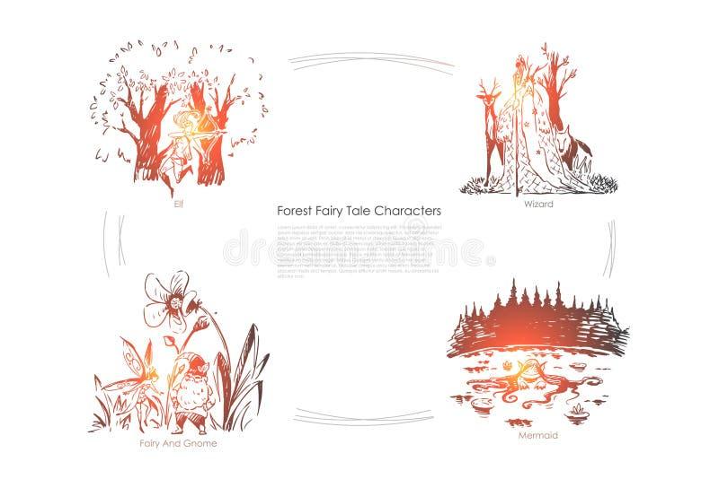 Fantastische denkbeeldige, mythische schepselen, elf, tovenaar, gnoom en meermin, verbeeldingswereld, het magische malplaatje van royalty-vrije illustratie