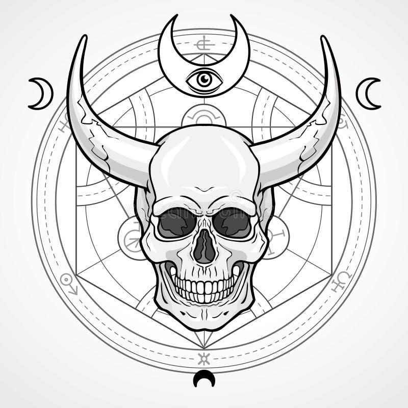 Fantastische gehoornde menselijke schedel vector illustratie