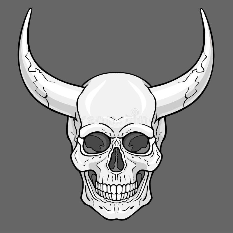 Fantastische gehoornde menselijke schedel De zwart-wit illustratie op een grijze achtergrond royalty-vrije illustratie