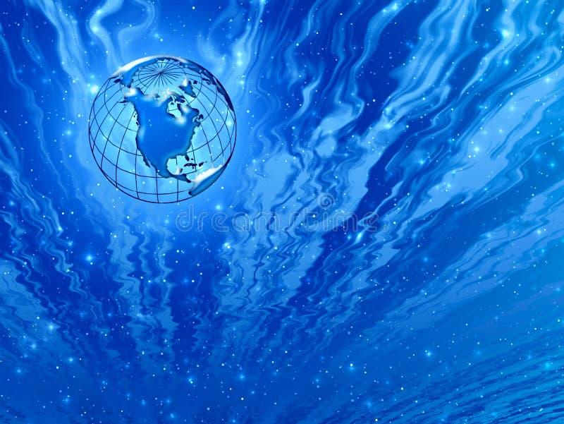 Fantastische hemelen. Blauwe planeet stock illustratie