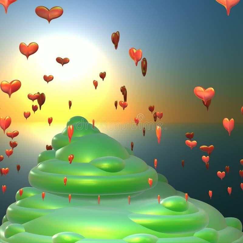Fantastische Insel der Liebe lizenzfreie abbildung