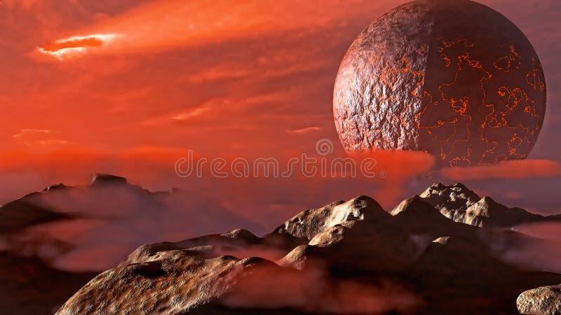 Fantastische Landschaft Exoplanet vektor abbildung