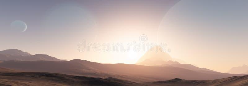Fantastische Landschaft Exoplanet lizenzfreie abbildung