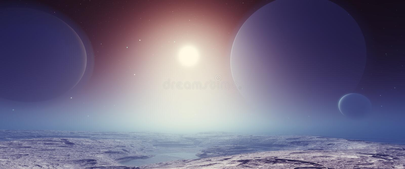 Fantastische Landschaft Exoplanet stock abbildung