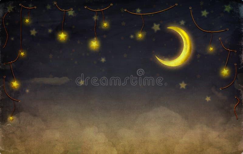 Fantastische maan en sterren op de kabel bij hemel stock illustratie