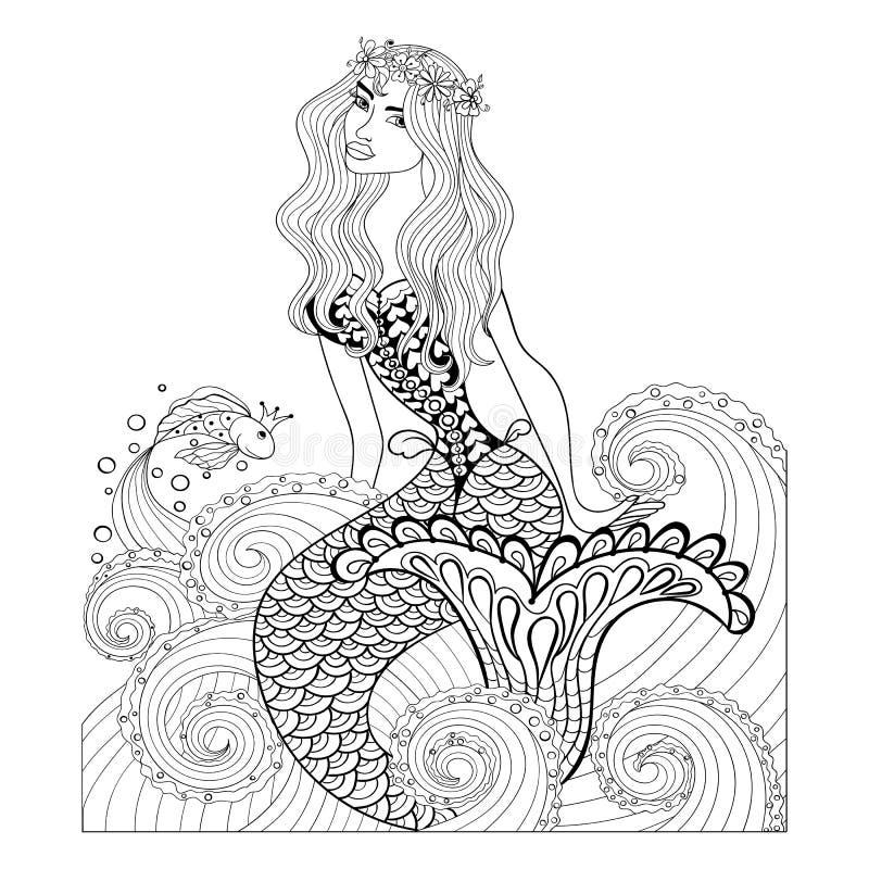 Fantastische Meerjungfrau in den Meereswellen mit einem Goldfisch und einem Kranz lizenzfreie abbildung