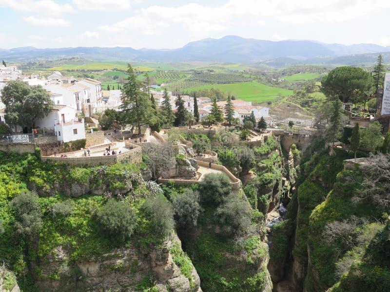 Fantastische Meningen van het Dorp van Ronda in Zuidelijk Spanje royalty-vrije stock afbeelding