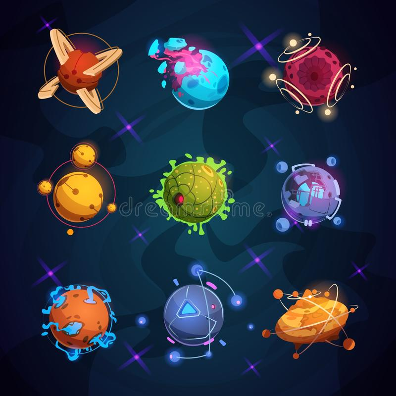 Fantastische Planeten der Karikatur Ausländische Planetengegenstände der Fantasie für Raumspiel vektor abbildung
