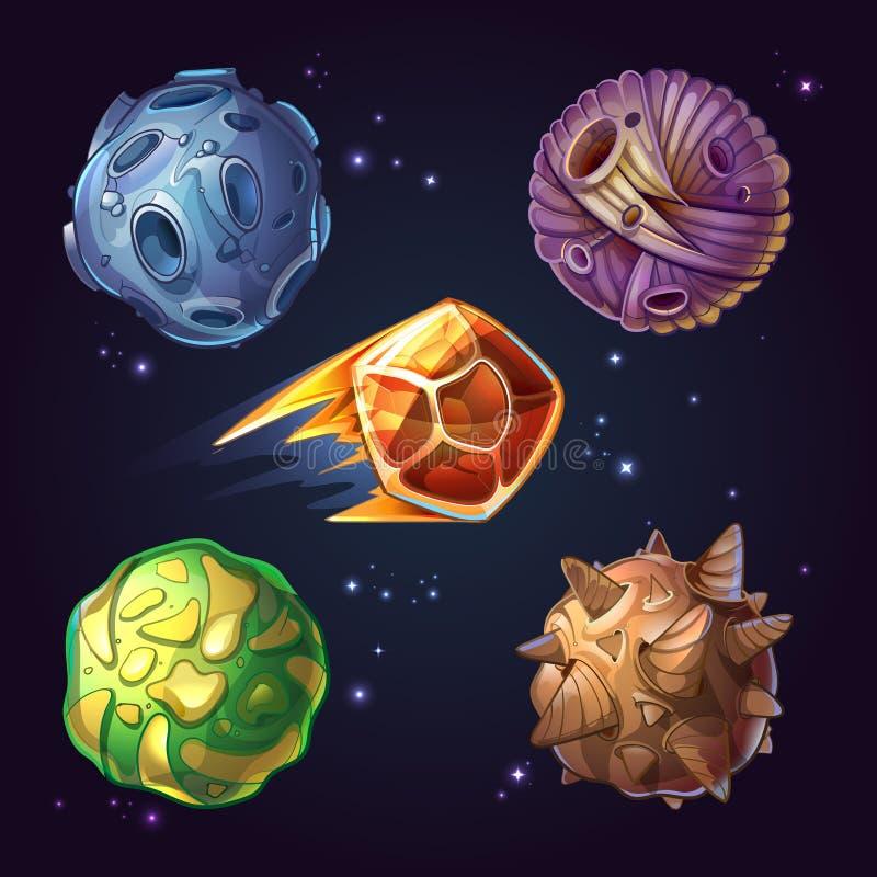 Fantastische planeten, manen, stervormig sterrig sc.i-FI stock illustratie
