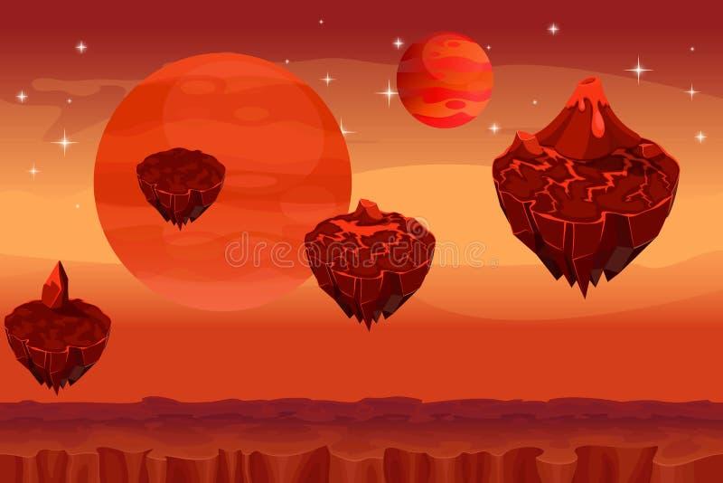 Fantastische Raumlandschaft, nahtloser Hintergrund des ausländischen Planetenmarsspiels lizenzfreie abbildung