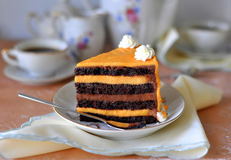 Fantastische Schokolade u. orange Kuchen lizenzfreie stockfotos