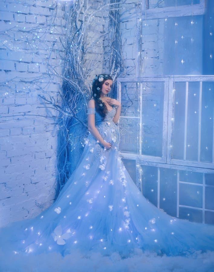 Fantastische sneeuwkoningin in een luxueuze kleding, in een ijsruimte Het binnenland vult met magisch, haar kledingsfonkelingen e stock foto's