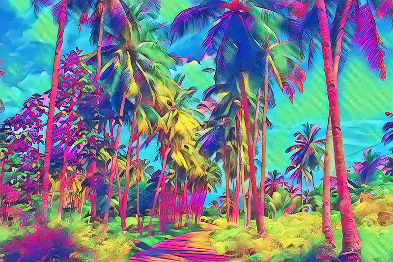 Fantastische tropische parkmening met palm Zonnige dag op exotisch eiland stock afbeeldingen
