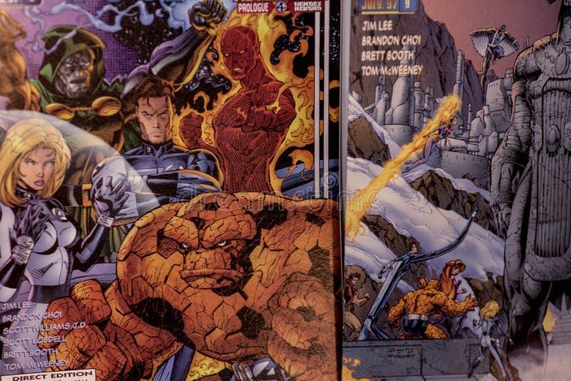 Fantastische Vier Wonderstrippagina superheroes stock afbeeldingen