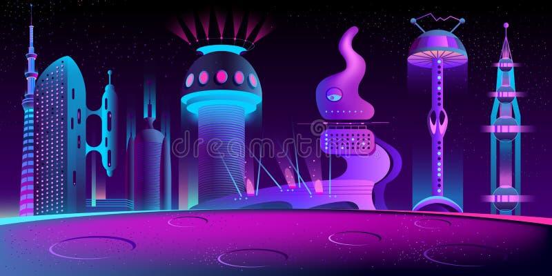 Fantastische vreemde stad, toekomstige de kolonievector van Mars royalty-vrije illustratie