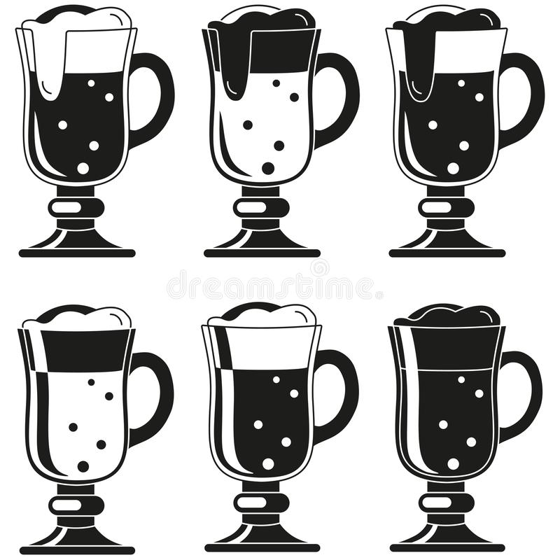 Fantastischer Bierglas-Schattenbildschwarzweiss-satz stock abbildung