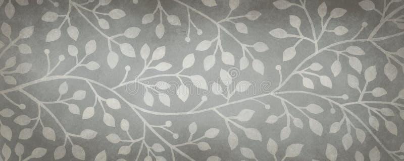 Fantastischer Efeu- oder Rebschwarzweiss-hintergrund, graue Hand gezeichnete Naturillustration lizenzfreie abbildung