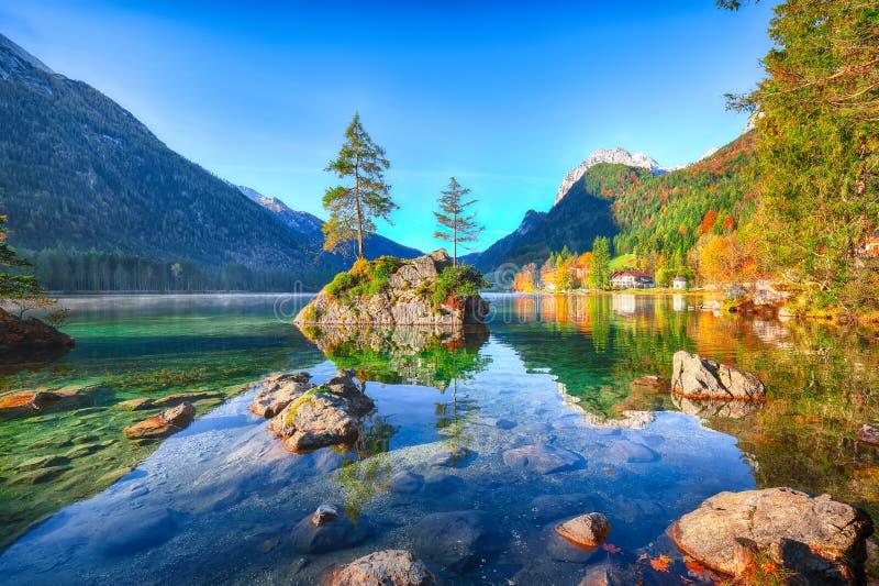 Fantastischer Herbstsonnenaufgang von Hintersee See Klassische Postkarte konkurrieren lizenzfreie stockfotografie