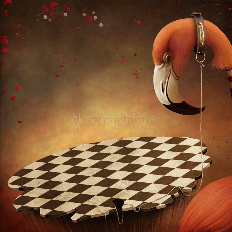 Fantastischer Illustration witn Flamingo und Plattform lizenzfreie abbildung