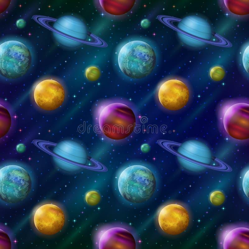 Fantastischer Raumhintergrund, nahtlos stock abbildung