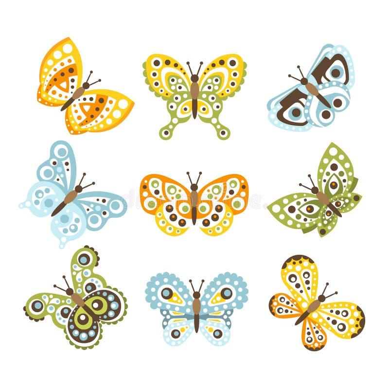 Fantastischer tropischer Schmetterling mit flippigen Design-Mustern auf den Flügeln eingestellt von den kreativen Insekten-Zeichn stock abbildung