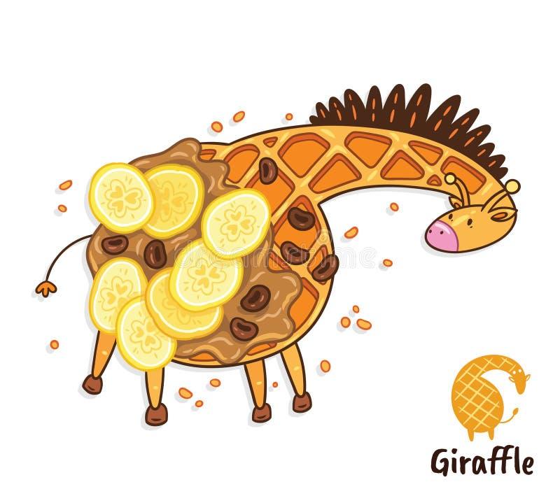 Fantastischer Waffelnachtisch in Form einer Giraffe mit Karamell und Banane Geschmackvolle Giraffenkunst vektor abbildung