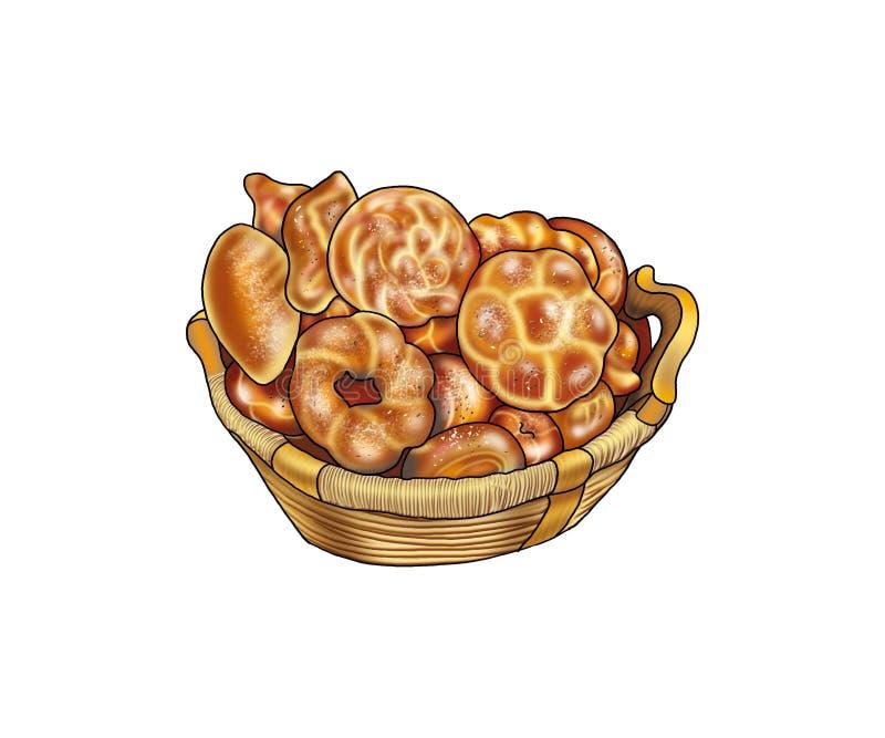 Fantastisches Brot, Bäckereiprodukte, Brötchen lizenzfreie abbildung