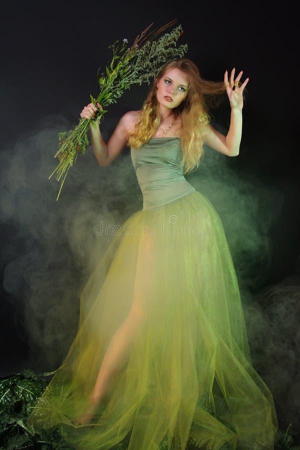 Fantastisches Mädchen in einem Kleid des langen Grüns in einem Nebel lizenzfreies stockbild
