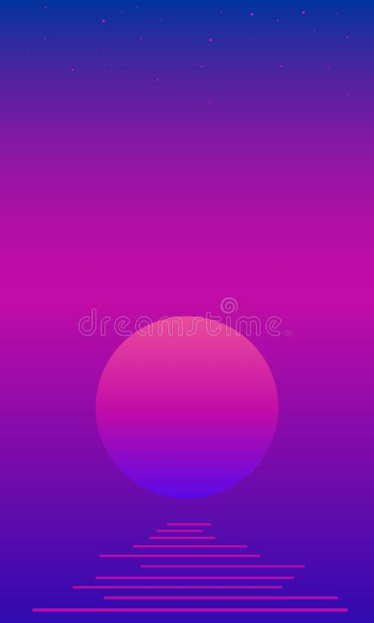 Fantastisches psychedelisches landscaope mit Mond, Meer, Sterne auf hellem Steigungsfarbe-bacgtound Vektorweinlese bunt stock abbildung