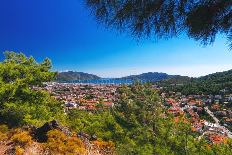 Fantastisk bästa sikt på den Marmaris Turkiet semesterorten arkivfoton