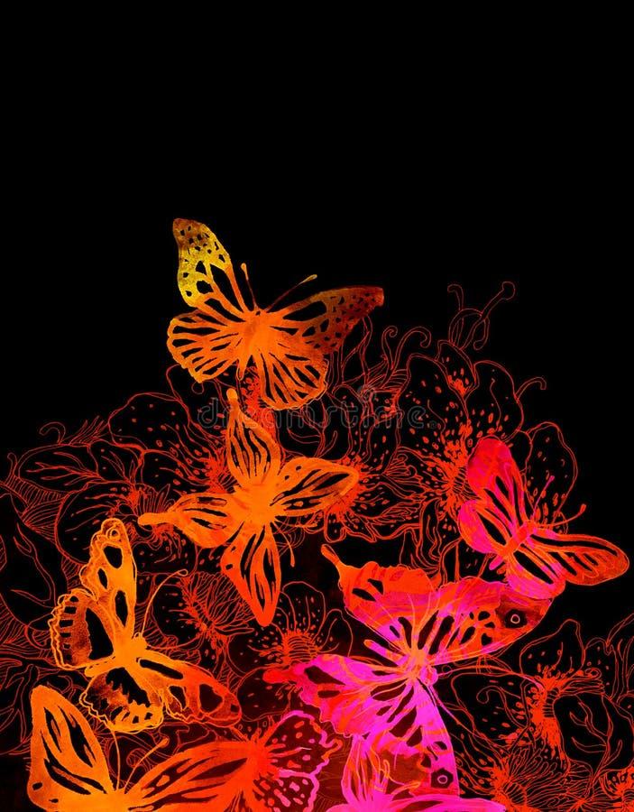 Fantastisk bakgrund med fjärilar och blommor stock illustrationer