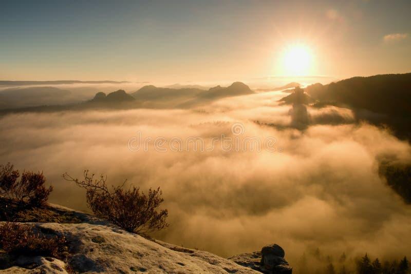 Fantastisk drömlik soluppgång på överkanten av det steniga berget med sikten in i den dimmiga dalen arkivbild
