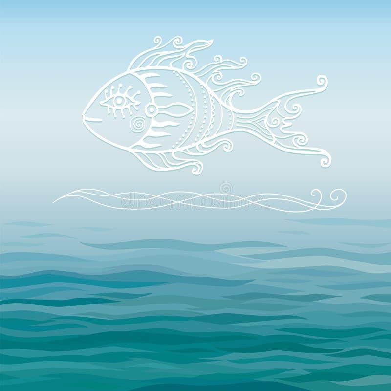 Fantastisk fisk för blå havsbakgrund, ett ställe för texten royaltyfri illustrationer