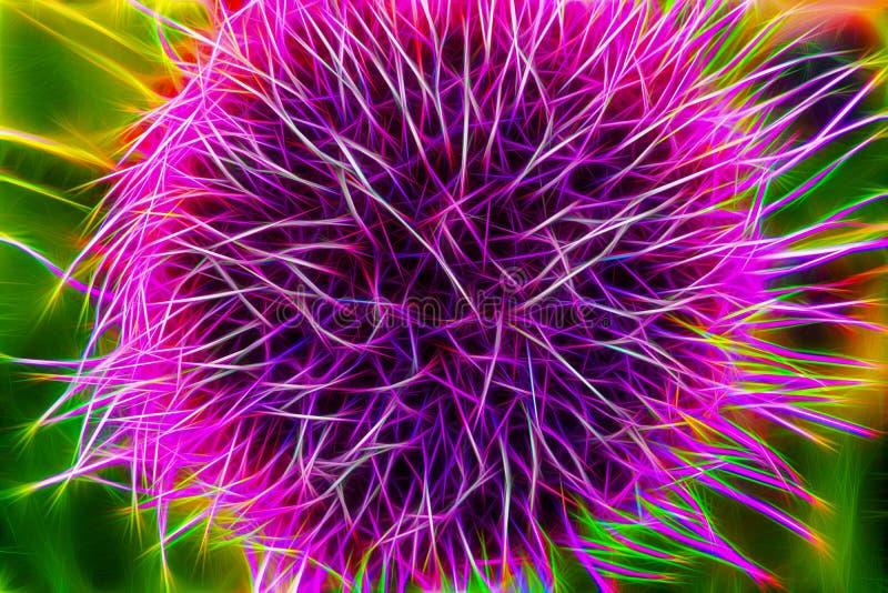 Fantastisk fractalbakgrund Abstrakta ljusa guld-, blåa, rosa och purpurfärgade kaotiska former och diagram M?ngf?rgad bakgrund vektor illustrationer