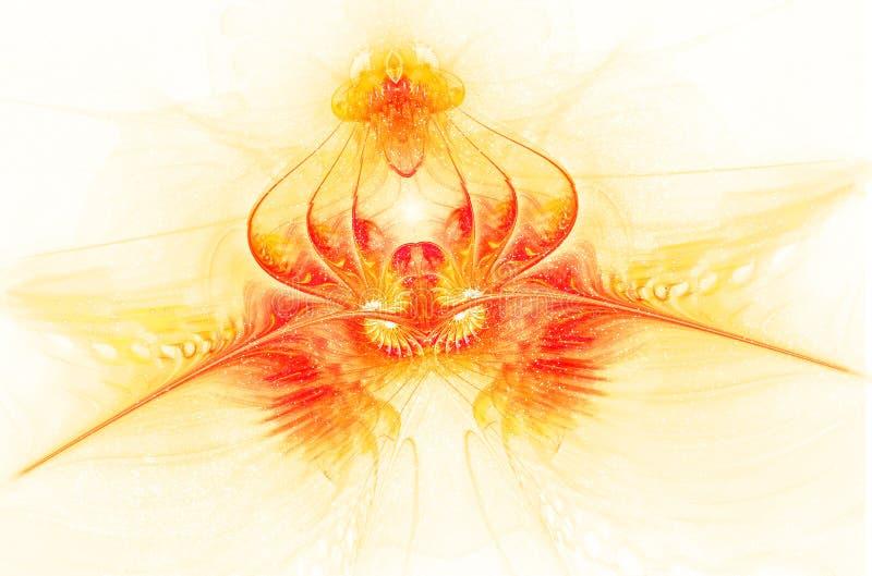 Fantastisk genomskinlig brännhet blomma Fractalkonst royaltyfri illustrationer