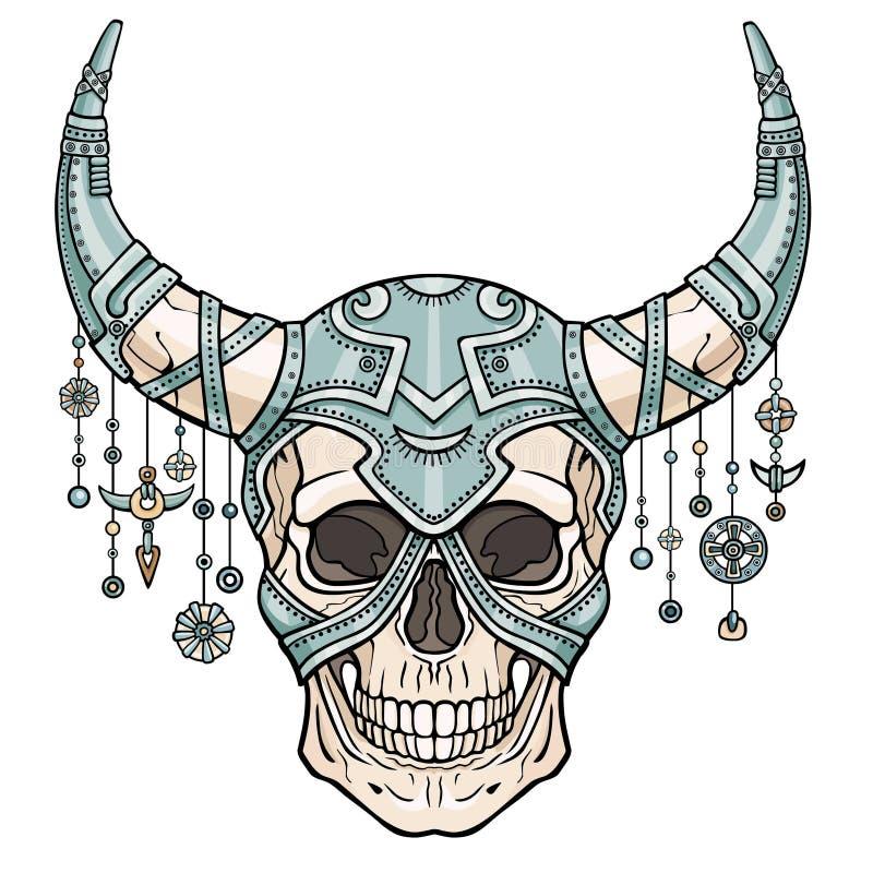 Fantastisk horned mänsklig skalle i järnharnesk Ande av soldaten vektor illustrationer