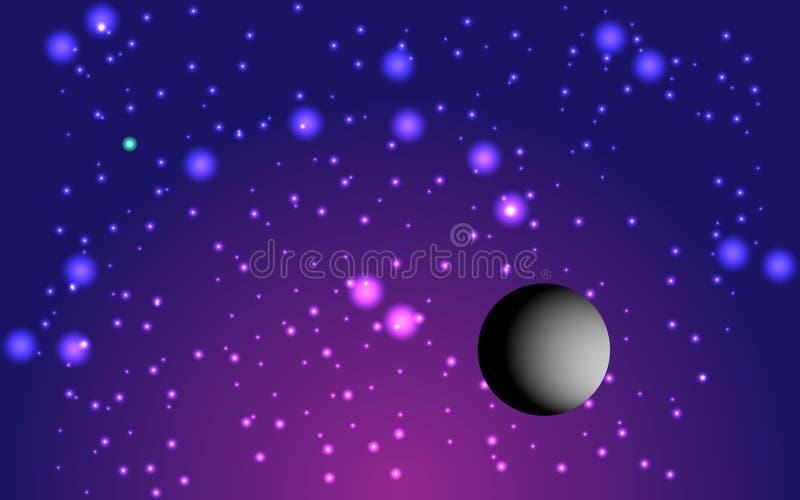 Fantastisk lila kosmisk bakgrund och paleta, vektor stock illustrationer